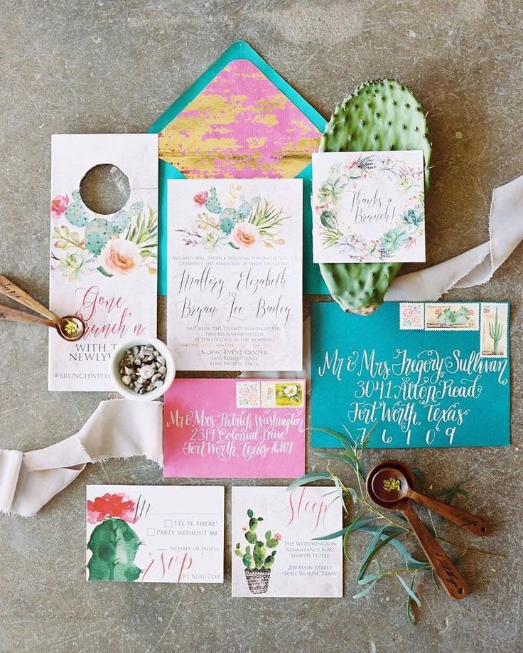 "Prick me....I must be dreaming! This Southwestern themed custom invitation suite is almost too good to be true! Whether you're having a desert wedding or you're just a cacti and succulent lover (who isn't!?) this suite is perfect, vibrant and just down right gorg. Check out all the colorful, bespoke details...including the custom vintage-inspired stamps and the brunch invitation that doubles as a ""do not disturb sign.  @cleggraphydesigns, you outdid yourself with this beauty!"