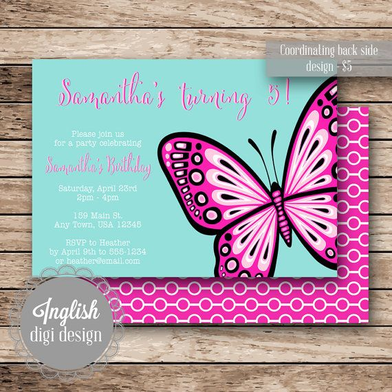 76 best Kids Party Invitations images – Butterfly Party Invitation