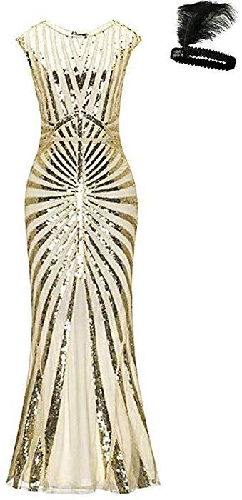 8e302a0282 Formal Evening Dress 1920s Sequin Mermaid Maxi Long Flapper Gown Party  (Beige/Gold, S): Amazon.co.uk: Clothing