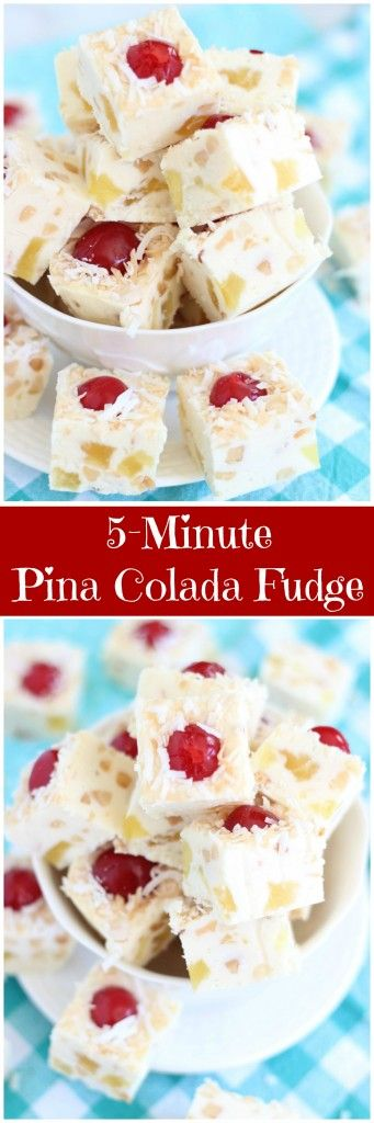 Pina Colada Fudge prepped in 5 minutes! With dried pineapple chunks, coconut, maraschino cherries, and roasted macadamia nuts!