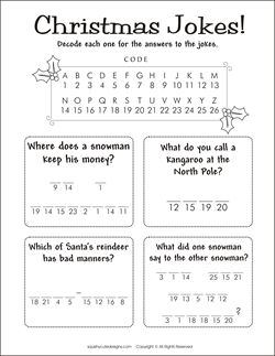 Christmas jokes for kids - Christmas riddles - kids party games, activities - decode a message game.  We also have Christmas coloring pages too!