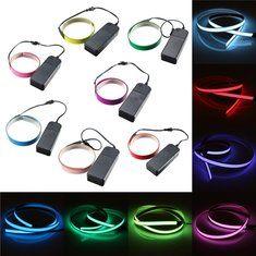 #Banggood 1м электролюминесцентный провод лентой эль светящиеся LED веревка плоская полоса света с аа батареи 3В коробке (998679) #SuperDeals