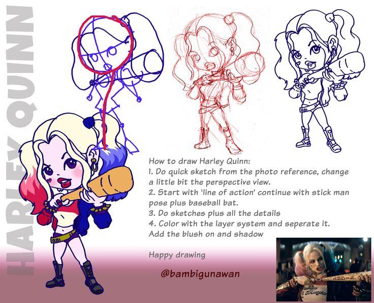 how to draw Harley Quinn versi Mas Bambi