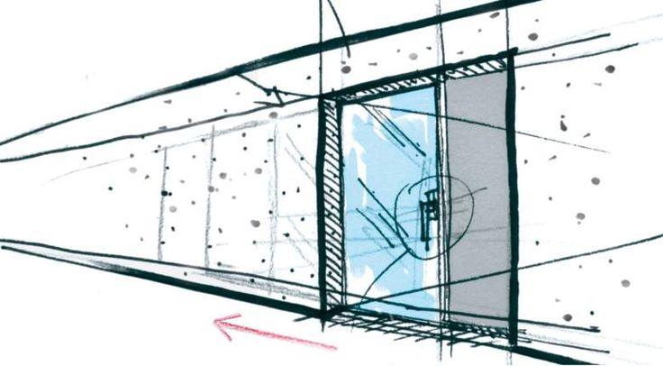 Finestre scorrevoli in vetro Es Finestra: porta-finestra scorrevole con un controtelaio incassato, che permette la scomparsa dell'anta all'interno del muro.