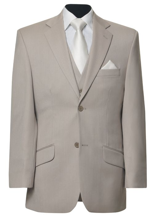 Beige two button lounge suit pictured with ivory business collar shirt, matching Sorrento vest & ivory Breeze accessories. Suit Hire | Ferrari Formalwear