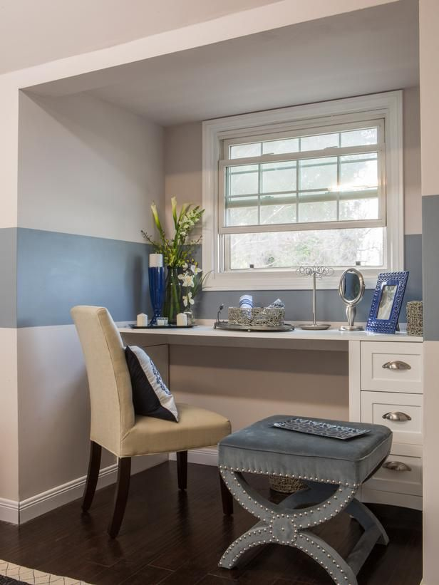 As seen on HGTV's Brother Vs Brother. Episode 4: #TeamJonathan Master Bedroom: Photos, Spaces, Vanities, Master Bedrooms, Desks, Blue Stripes, Hgtv S, Bedrooms Ideas, Nooks