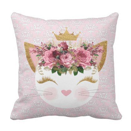 Pink Damask Kitty Throw Pillow - home gifts ideas decor special unique custom individual customized individualized