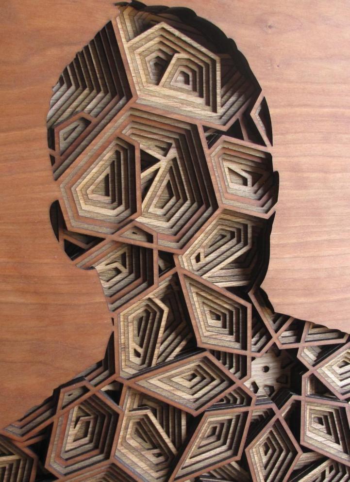 Laser cut portraits by Gabriel Schama | wood portraits | geometric art | laser cut art