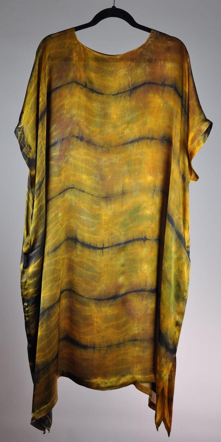 hand painted plus itajimi shibori on satin georgette / Caftan / dress with pockets