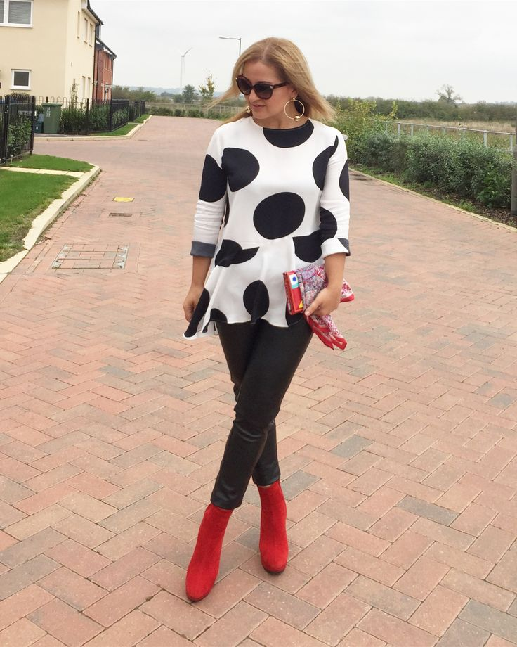 Polka dots and red boots, red, black and white, fall