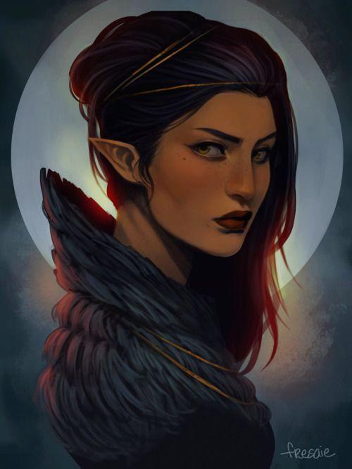 Elfa; caucásica; adulta; pelo negro, liso; ojos verdes; noble.