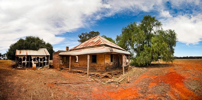 Country NSW Australia Neglected country homestead bears the harsh outback conditions.