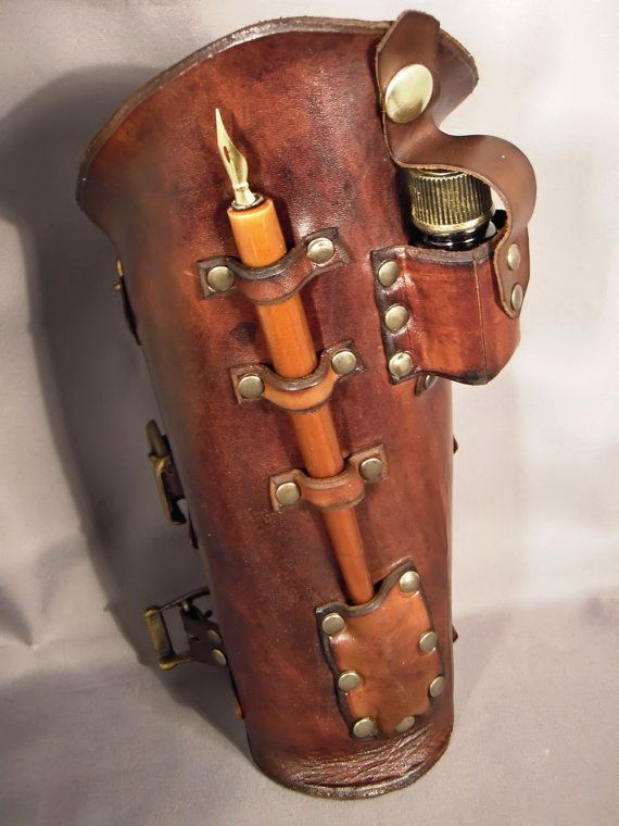 Is there anything better for a writer?! Steampunk leather bracer Scribe by IsilWorkShop on Etsy, $80.00