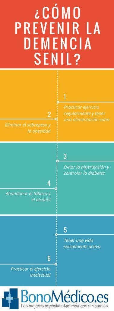 ¿Cómo prevenir la demencia senil? 10 Recomendaciones para Prevenir la Demencia Senil:. 1-Trabajar la gimnasia cerebral. 2-Hacer ejercicio de forma regular. 3-Dieta estilo mediterránea. 4-Fomentar las relaciones sociales. 5-Establecer horarios y rutinas. 6-Mantener la presión arterial bajo control. 7-Cuidar los niveles de colesterol y azúcar en la sangre. 8-Proteger el área de la cabeza. 9-No fumar. 10-No consumir alcohol o hacerlo de forma moderada.