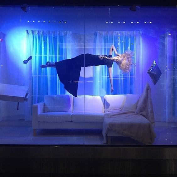 """HARVEY NICHOLS, London, UK, """"Miranda... You may have dreamed about floating in the air, over your sofa? If so, this floating dream is probably just an aspect of your fear of heights... Thank You, I will see you next week"""", photo by Vitrinistika, pinned by Ton van der Vee"""