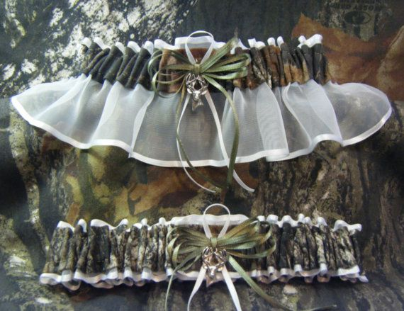 White Mossy Oak Camouflage wedding garters by SheerSatinandLace