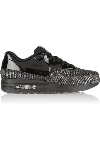 Air Max 1 metallic bouclé and patent-leather sneakers #sneakers #offduty #covetme #nike