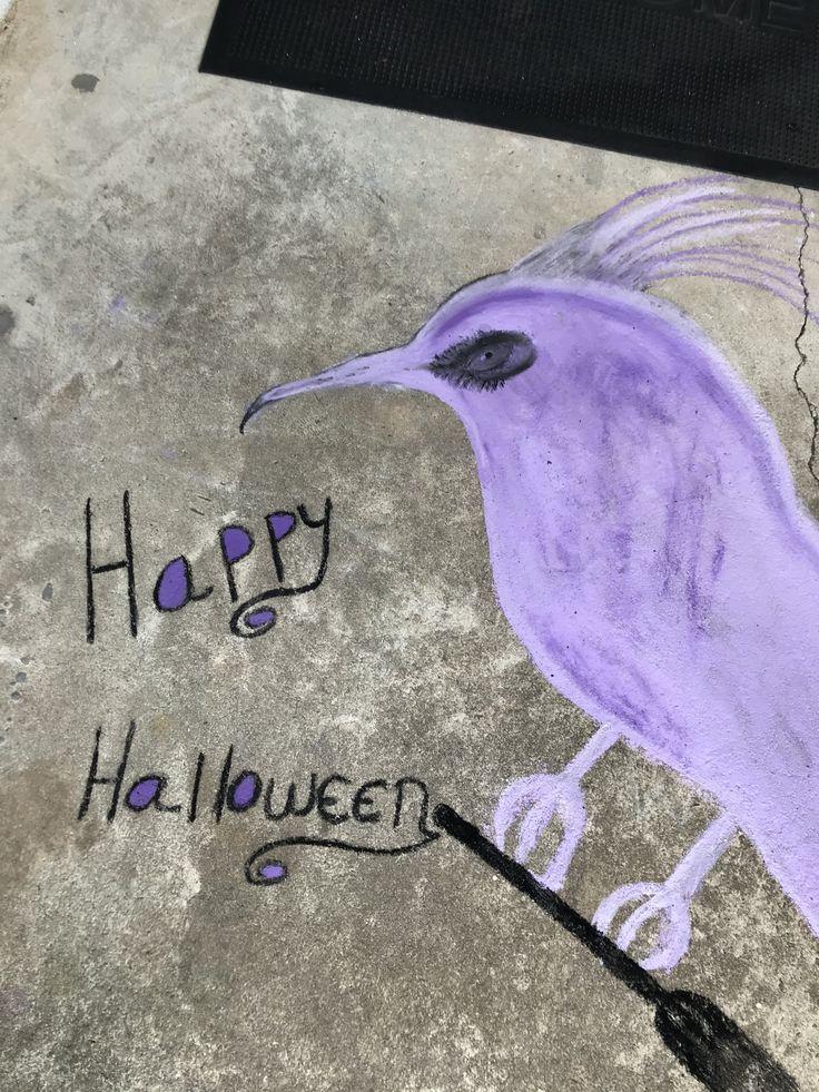 Evil eye Bird  He's ready for Halloween 2019 Sidewalk chalk art  By Wendeni Cr…  – Halloween