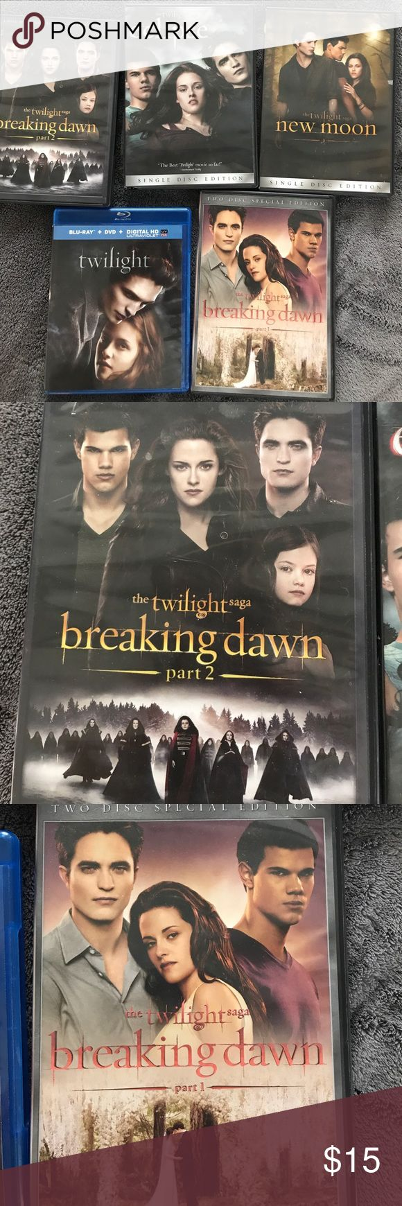 All five movies from the twilight Saga Call DVD/Blu-ray's work perfectly fine. Twilight, new moon, eclipse, breaking Dawn part one and breaking Dawn part two. I also have all five of the books that I will be selling separately The twilight saga Other