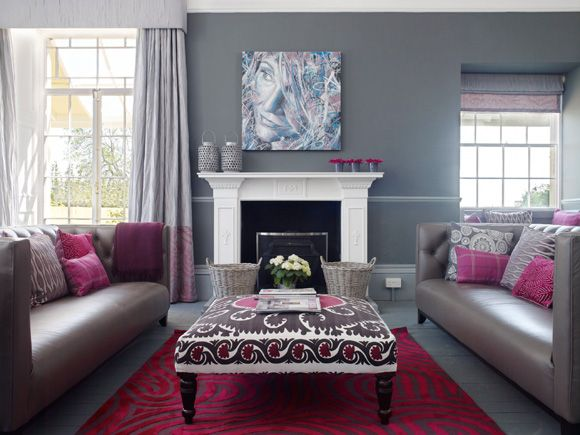 Grey raspberry living room pinterest gray for Gray and pink living room ideas