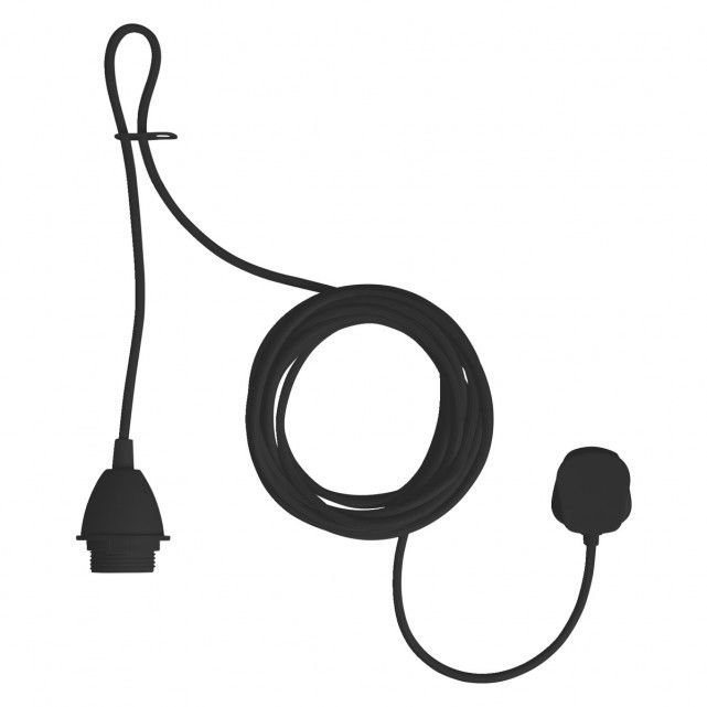 The Pendel black ceiling light fitting with plug lets you create a feature ceiling light in any room that has an electrical socket.[br]Designed for use with a lampshade, easy-to-fit ceiling shade or just a feature bulb, the fitting has a 5m fabric cable and comes with 2 ceiling hooks to allow a vertical drop.[br]The light fitting is also available in white and in other configurations.