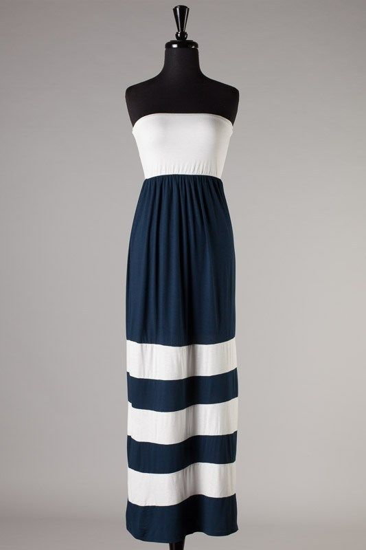 Drop waist tube maxi dress