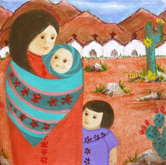 Mexican Folk Art acrylic mini painting OOAK  Madre by conmismanos, $50.00