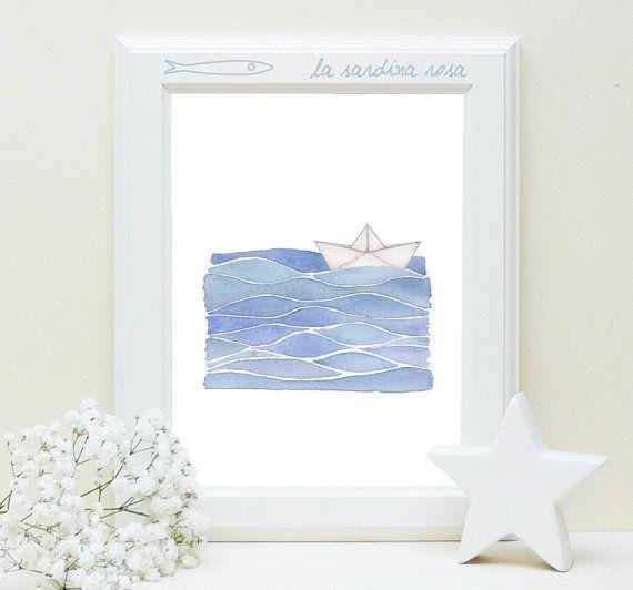 sailing origami boat and waves original watercolor by LaSardinaRosa on Etsy