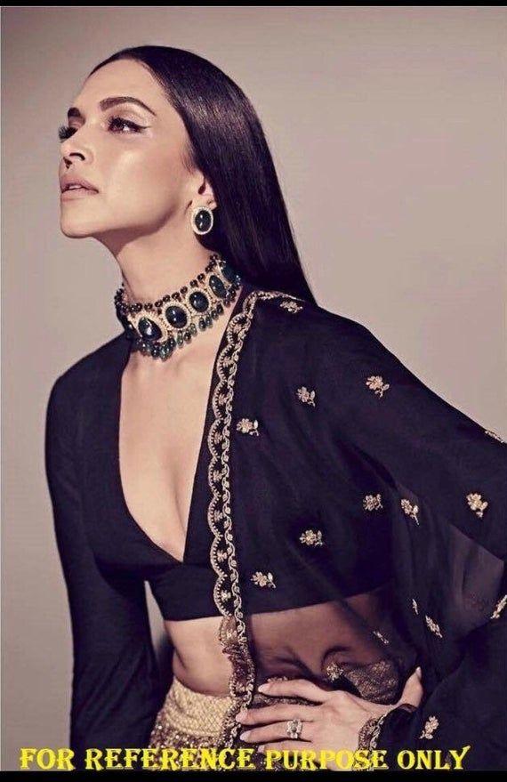 Deepika Padukone Choker/ Indian Jewelry/Sabyasachi Necklace/ Emerald Indian Choker/ Indian ...