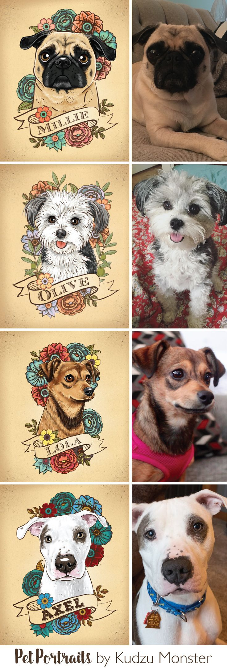 Custom dog and cat pet portraits by Kudzu Monster Illustrated in a unique tattoo floral style from photos you provide.  I take color scheme preference…
