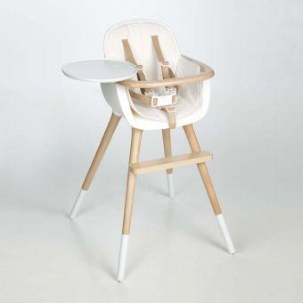 Chaise haute OVO Luxe avec harnais - Blanc