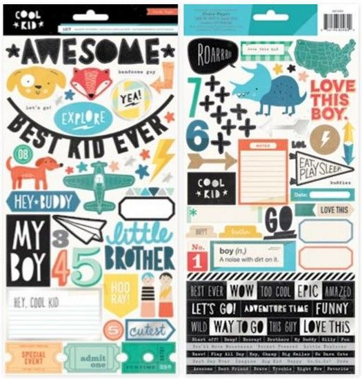 Crate Paper Cool Kid - Foiled Stickers with silver foil 2 sheets
