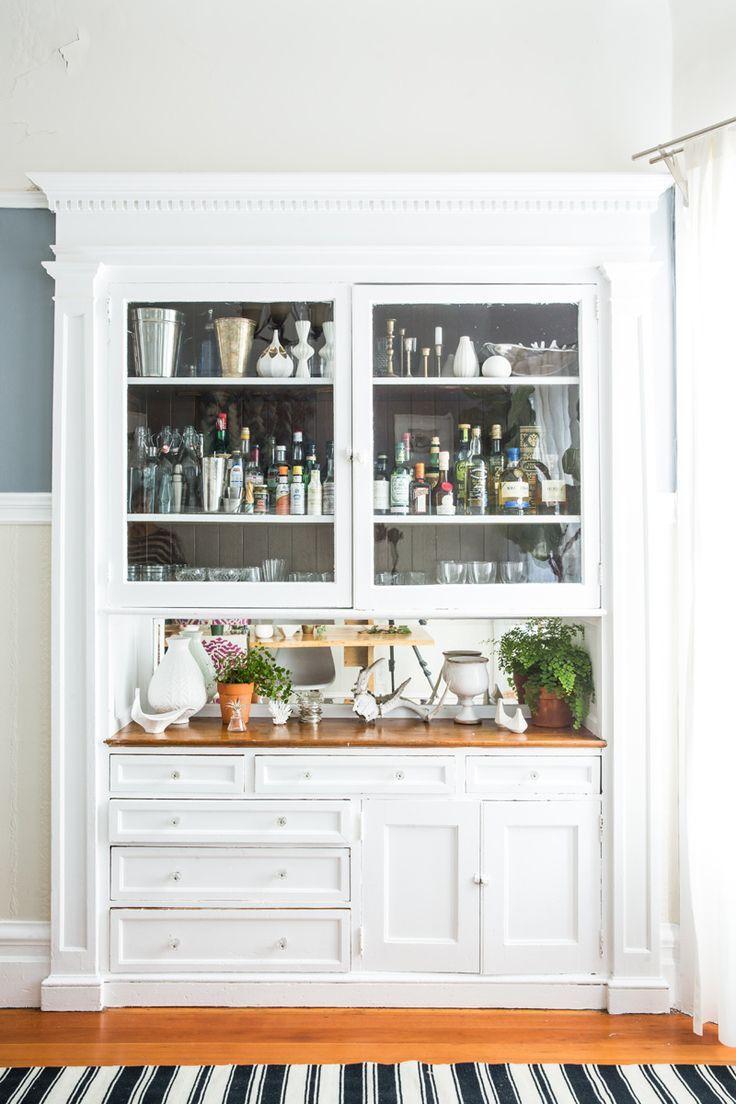 White Built In Bar, Wood Countertops, Glass Cabinets | Lauren Nelson Design