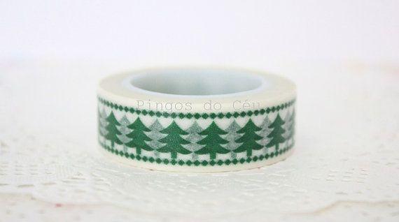 Green Washi Tape  Christmas Washi Tape  by pingosdoceu on Etsy