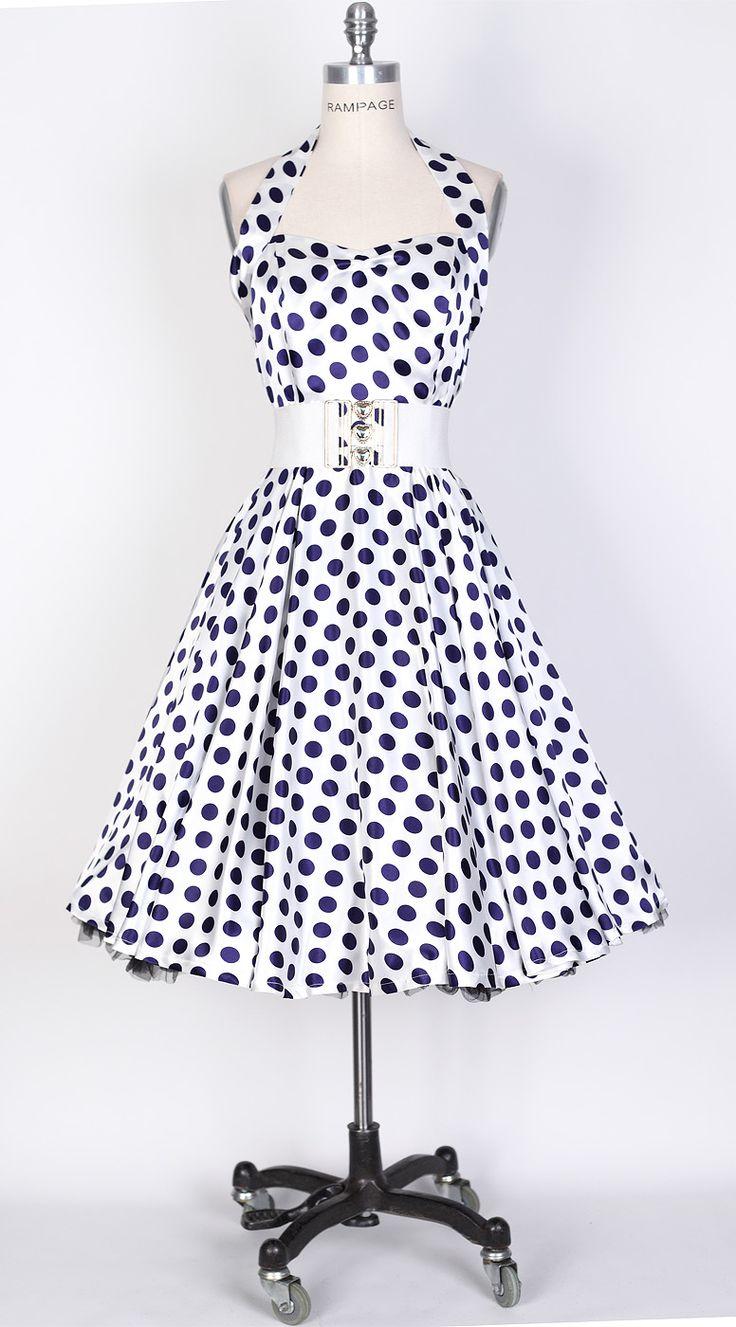 50s Big Navy Blue Dot/White Polka Dot Swing Satin Dress