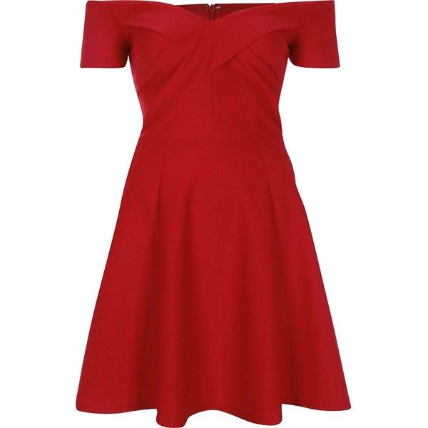 River Island Red scuba bardot skater dress ($80) ❤ liked on Polyvore featuring dresses, red, off shoulder dress, skater dress, circle skirt, skater skirt dress and red skater skirt