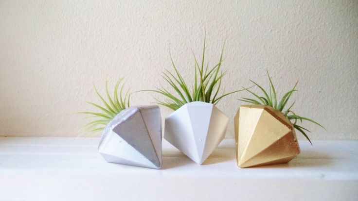 Diamond air plant holder, naturalist decor, desk planter, wedding favors von RedwoodStoneworks auf Etsy https://www.etsy.com/de/listing/220144780/diamond-air-plant-holder-naturalist