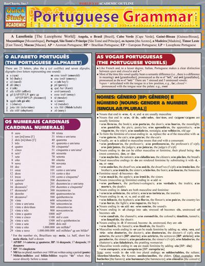 PORTUGUESE GRAMMAR QuickStudy® $5.95 Includes some important major differences between types of Portuguese by geographical region. 6-page laminated guide includes: • alphabet • cardinal numbers • vowels • gender & number • pronouns  and more! #Portuguese #language #study