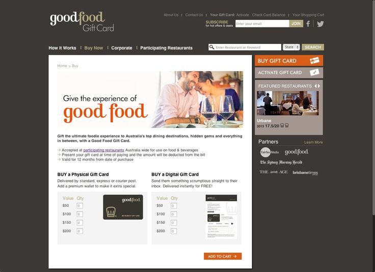 Good Food Gift Card http://www.goodfoodgiftcard.com.au/Buy