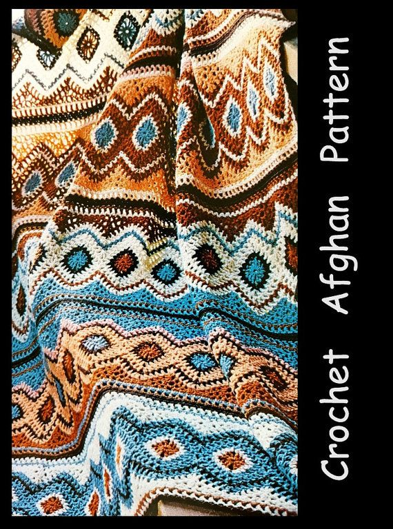 Crochet Afghan Pattern. Make in beautiful southwest colors. Pattern only. Not A Finished Afghan. Patterns are in English.  Uses worsted weight yarn and hook size H.  Approximate size: 45 x 64 inches.  Pattern has 2 color pictures with instructions.  Pattern has been digitized into larger print for easier reading. ******************************** Pattern includes photo and original instructions. ♥ Printable Pattern is available for download when payment is complete.  Pattern only - Not A…