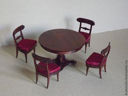 Кукольный дом ручной работы. Ярмарка Мастеров - ручная работа миниатюрный стол со стульями. Handmade. My furniture for doll and dollhouse