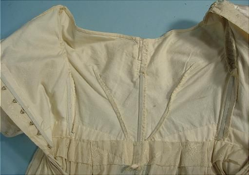 c. 1837-1840 Cream Silk and Linen Wedding or Evening Gown with Satin Trim