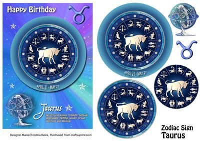 Zodiac SignTaurus Mystical on Craftsuprint designed by Maria Christina Vieira  - 5x7 Zodiac sign Birthday card front with Pyramage layers .If you cant find a suitable Birthday card...you cant go wrong with a Zodiac sign card! - Now available for download!