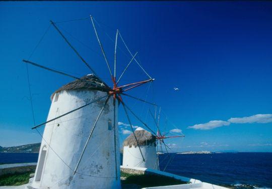 Visit Greece/ Windmills in Mykonos