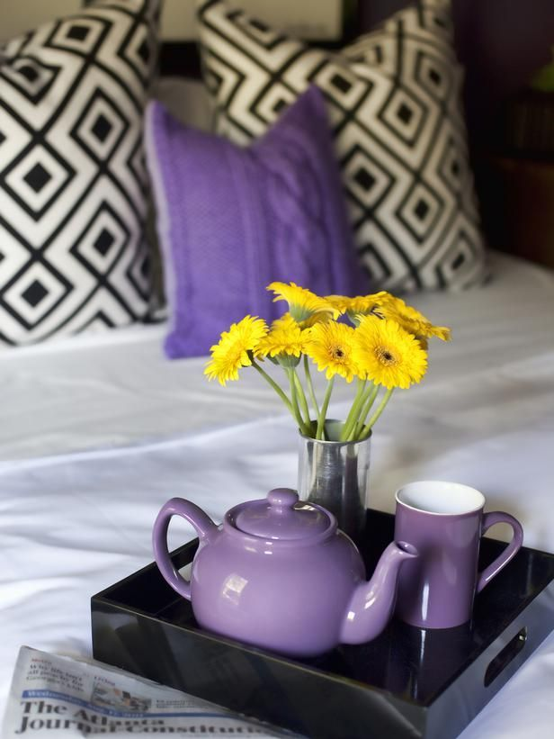 A beautiful mix of patterns and textures with a pop of purple -- great idea for a girl's bedroom or dorm room. | hgtv.com: Contemporary Bedrooms, Hgtv Bedrooms Purple, Guest Bedrooms, Girls Bedrooms, Serving Trays, Teas Sets, Guest Rooms, Yellow Flower, Purple Teapots