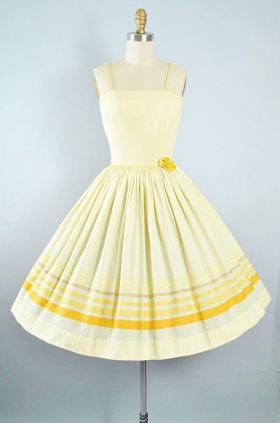 Abito vintage anni ' 50 / 1950s cotone giallo Sundress Gay