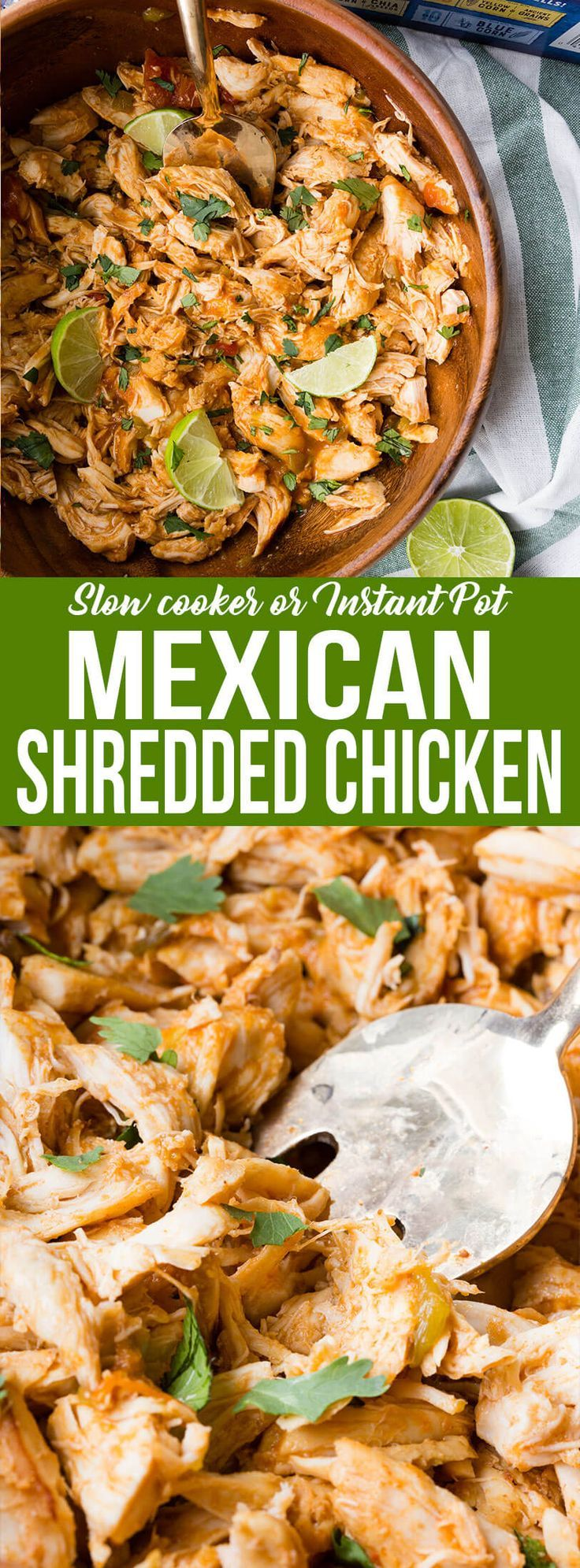 Mexican Shredded Chicken (Pressure Cooker + Slow Cooker) is the perfect filling for your Taco Tuesday tacos, or your game day Taco Bar! Filled with awesome flavors thanks to Ortega Thick and Chunky Mild Salsa, Ortega Diced Green Chiles, Ortega Mild Green Taco Sauce, and Ortega Taco Seasoning Mix, this is a simple, but delicious meal! #ad