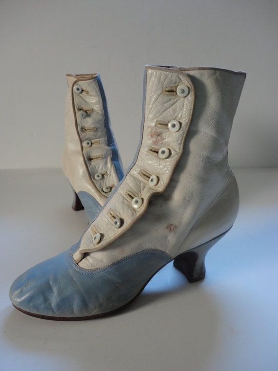 Victorian Boots Baby Blue and Cream Leather by JunkyardGypsy, $158.00