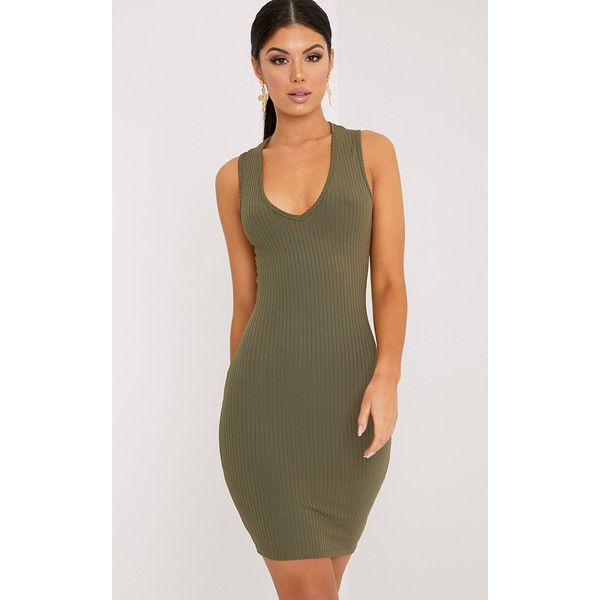 Gayna Khaki Plunge Neck Ribbed Bodycon Dress ($15) ❤ liked on Polyvore featuring dresses, green, mini dress, short dresses, plunging v neck dress, green bodycon dress and short party dresses