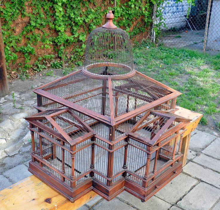 Beautiful Folk Art Wire Wood Antique Bird Cage Mansion. $400.00, via Etsy.